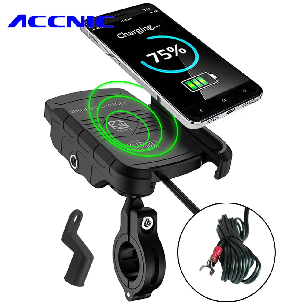 ACCNIC 7,5 W & 10W беспроводное зарядное устройство держатель для сотового телефона мотоцикла для iPhone 8 X XR XS MAX для samsung S10 + S10E S9 + (без USB)