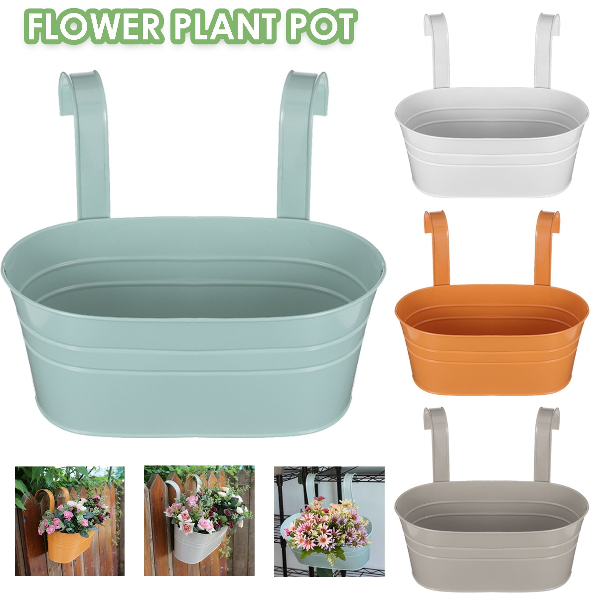 Planta de Metal ovalada, maceta, cerca, balcón, jardín, maceta colgante, maceta decorativa clásica para el hogar, macetas