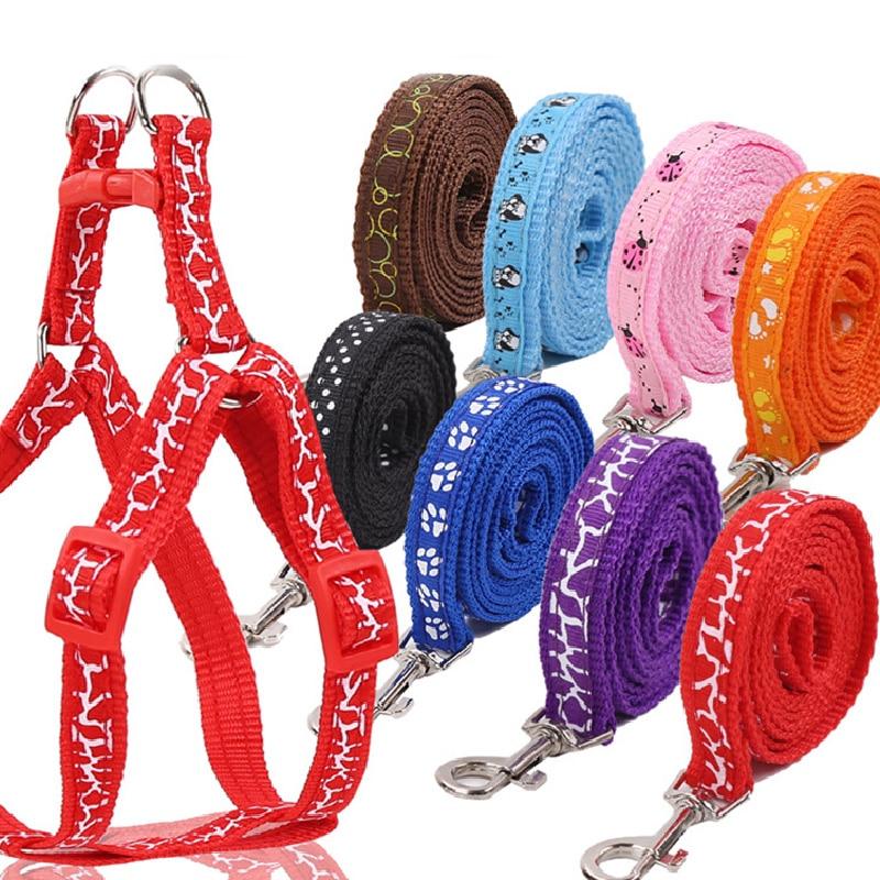 Nylon Dog Collar Dog Leash Durable Adjustable Dog Cat Lead Leash Training Walking Vest Traction Rope Chest Back Pet Rope 1 Pcs