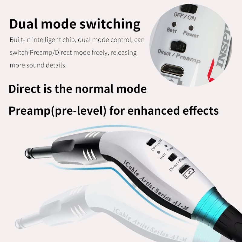 Inspire  Professional Audio Cable with Preamp  3 meters Noise Shielded Stereo for Guitar link to Amplifier enlarge