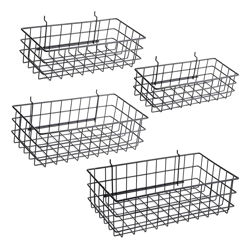 Pegboard سلال مجموعة من 4 ، خطاف إلى أي لوح تعليق رف سلك صناديق تنظيم أدوات ، منضدة ، اكسسوارات ، المرآب التخزين