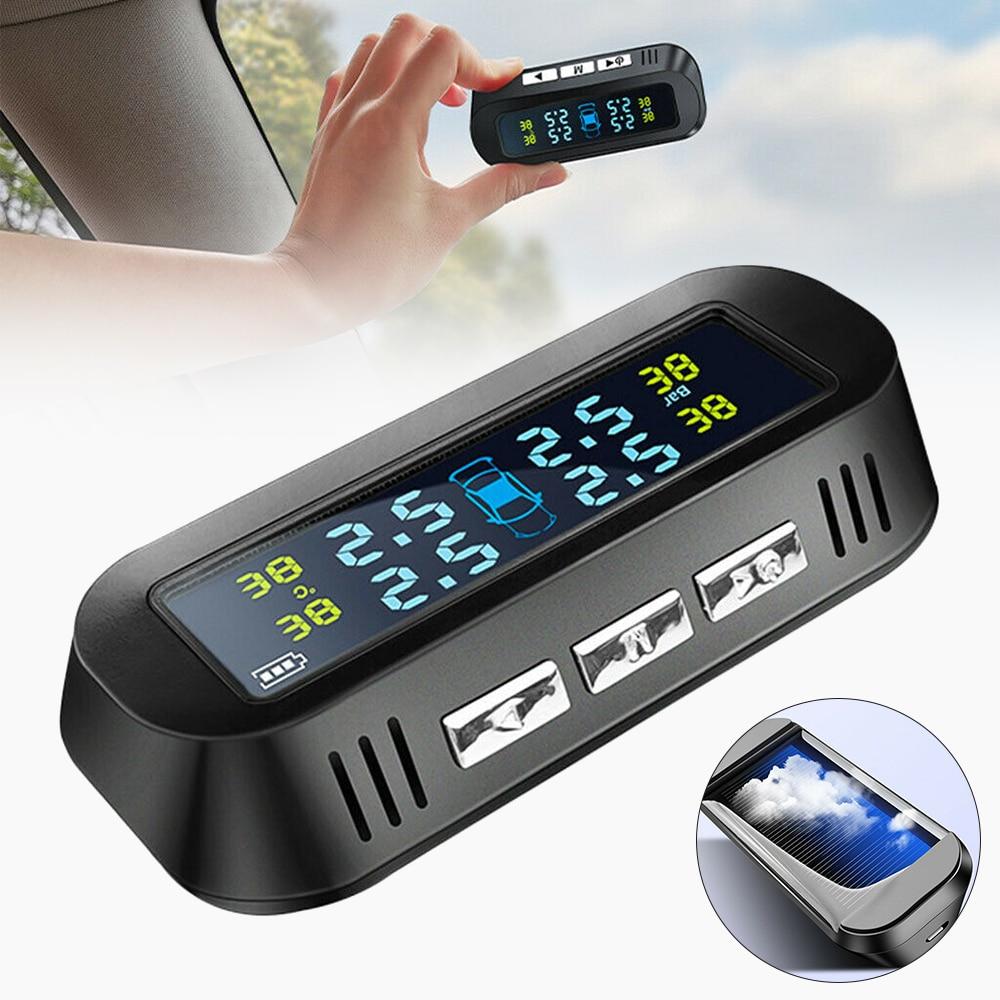 Car Tire Pressure Sensor USB Solar Charging Psi Tyre Pressure Monitoring System Security Alarm Real