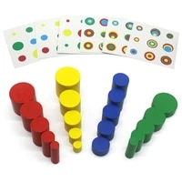 montessori colored cylinder blocks and cards sensory toys color sorting educational learning toys for children l0364h