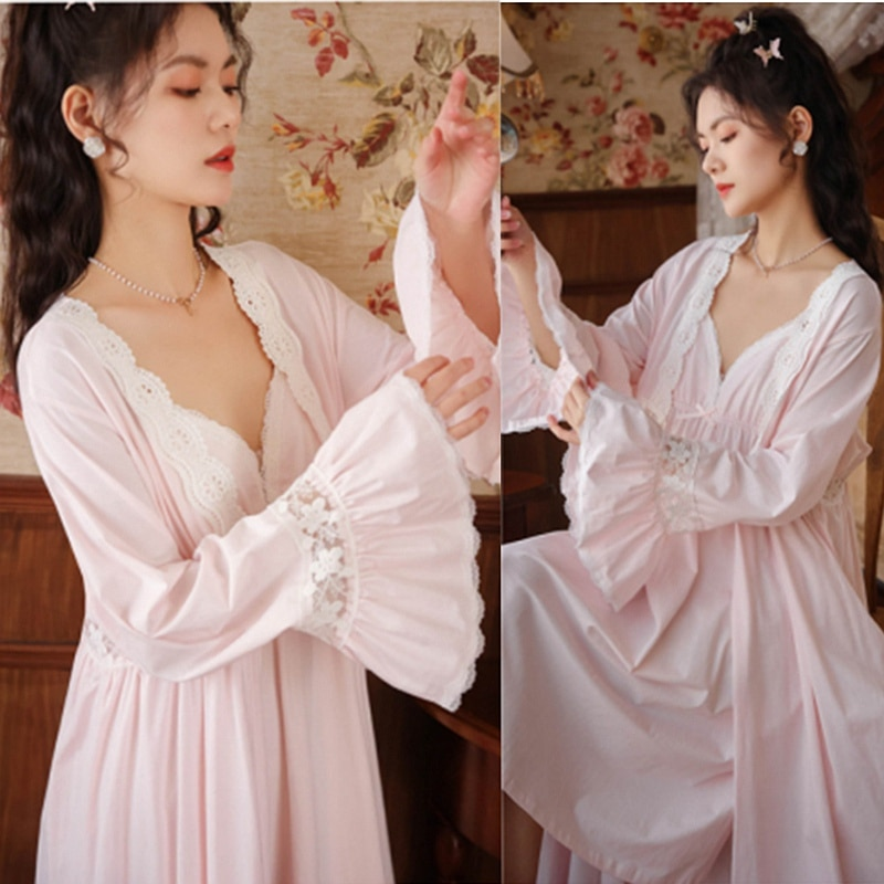Элегантные длинные халаты, комплекты, винтажные ночные рубашки в дворцовом стиле, женские ночные рубашки с V-образным вырезом, хлопковый Хал...
