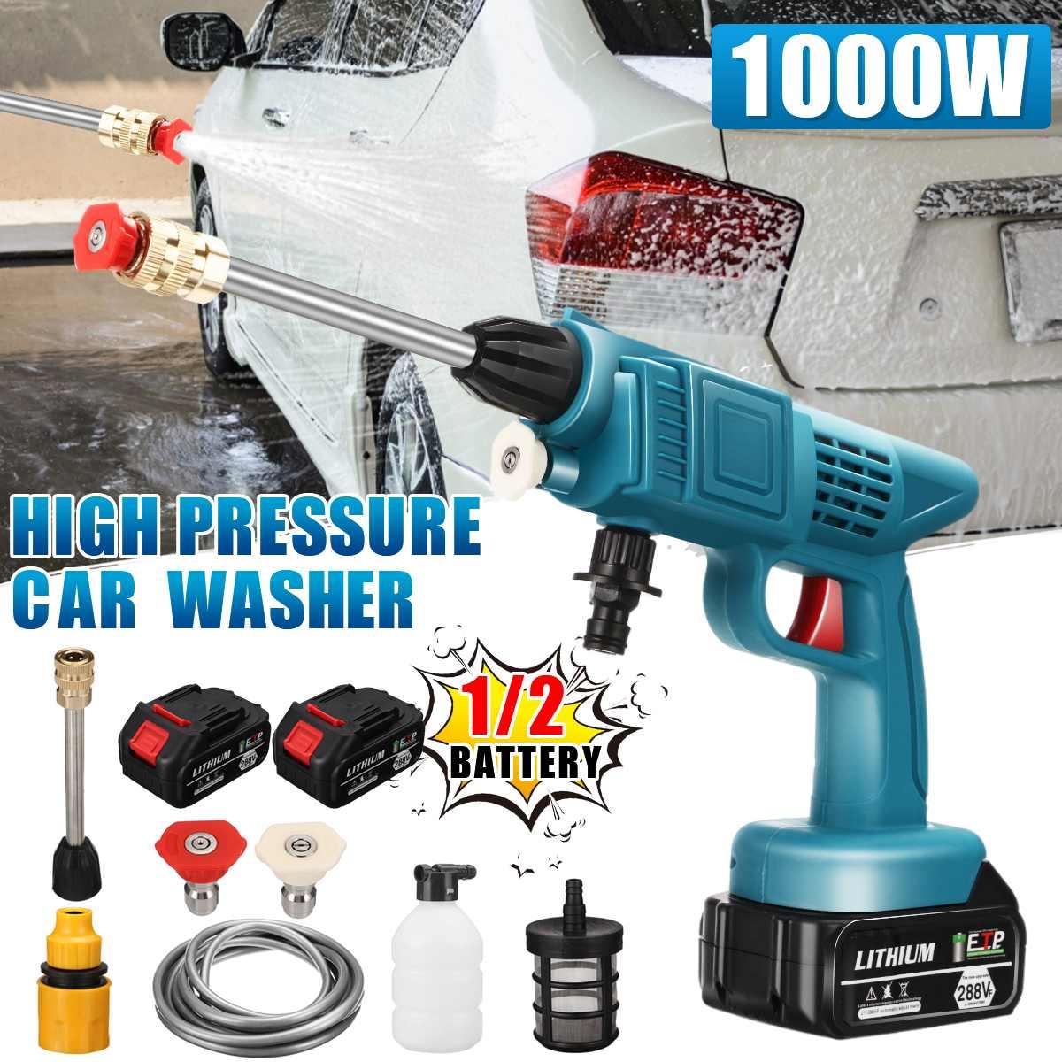 1000 واط سيارة لاسلكية ارتفاع ضغط غسالة 70bar 20000mah الكهربائية المحمولة آلة غسل سيارات حديقة غسل رذاذ الماء بندقية