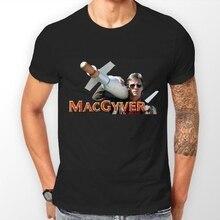 Koszulka inspirowana lat osiemdziesiątych klasyczny serial telewizyjny MacGyver 2019 nowa czysta bawełna z krótkim rękawem moda męska koszulka Basic topy