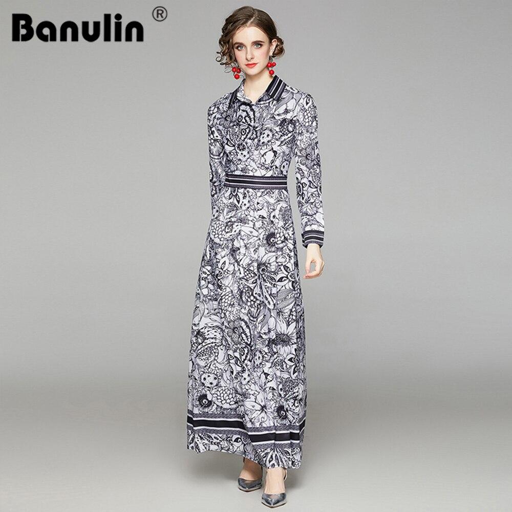 Banulin 2021 Spring Fashion Designer Runway Long Dress Womens Turn Down Neck Sleeve Floral Print Vintage Party Maxi