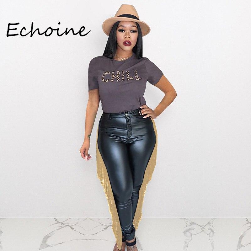 Casual PU Leather Tassel Pants Slinky Pencil Pants Elasticity High Waist Pants Streetwear Trousers Plus Size Women