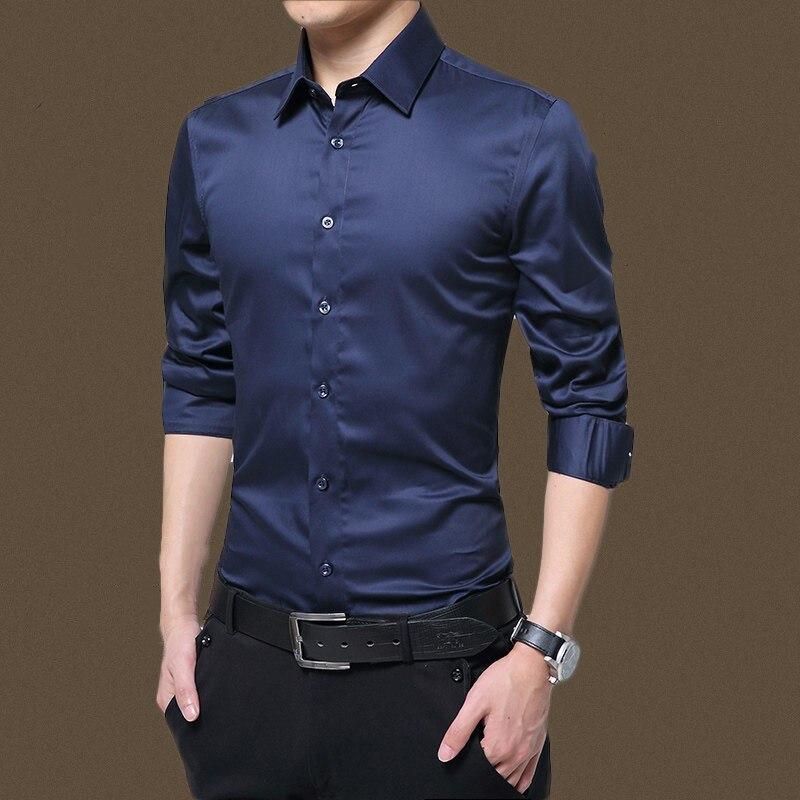 Camisa de manga larga para hombre moda Casual blanco color sólido diseño de negocios tela suave cómodo hombre vestido de negocios Delgado