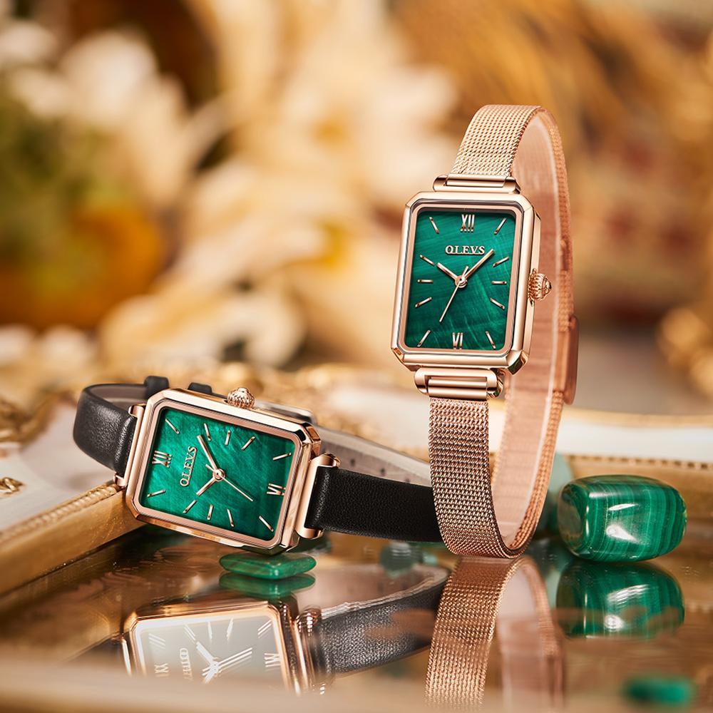 Marca de Luxo Caixa da Menina Verde Malaquita Mulher Relógios Quadrado Quartzo Rosa Ouro Malha Aço Inoxidável Relógio Pulso Elegante Senhoras