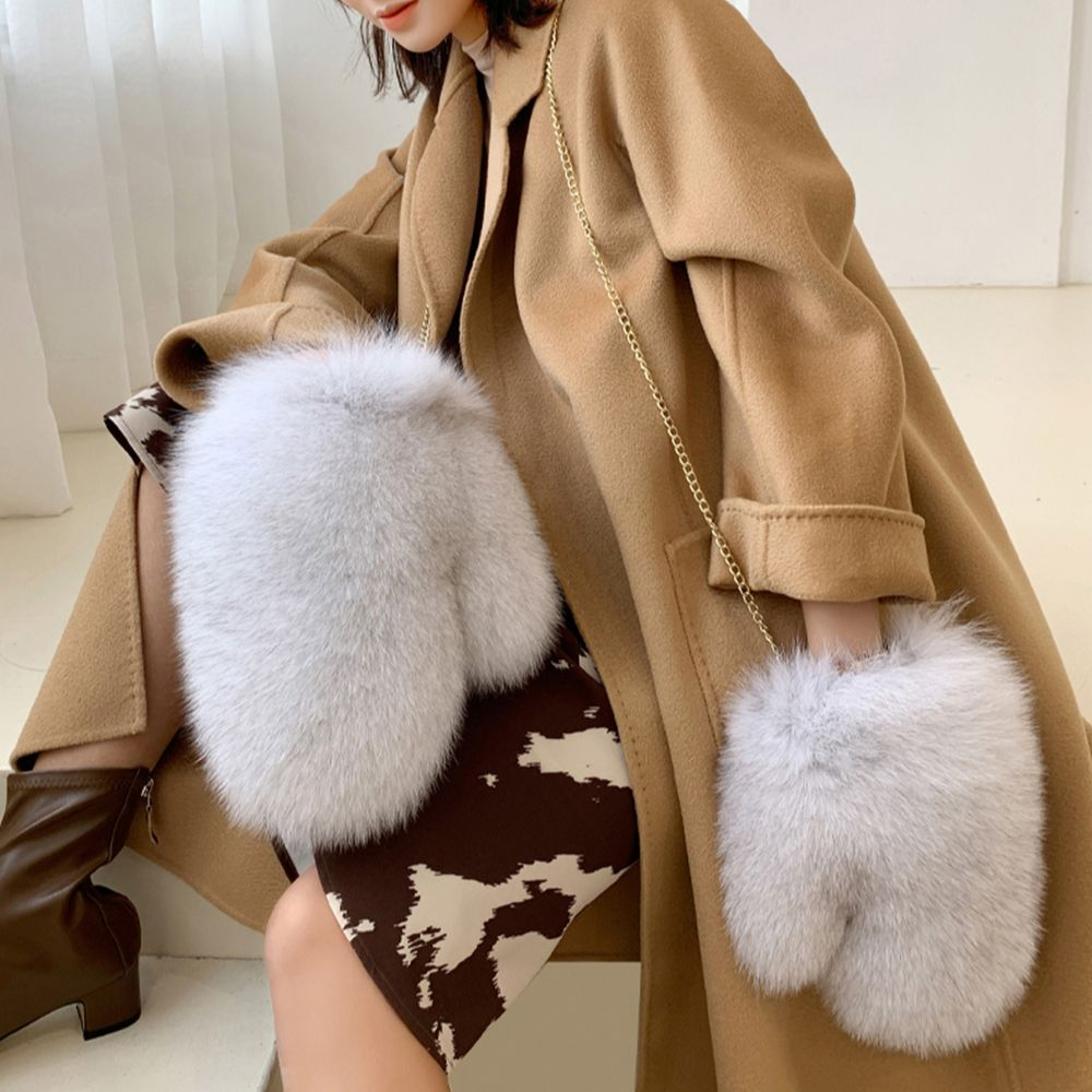 High Quality Women Winter Thick Warm Real Fox Fur Gloves Fashion Lady Fur Hanging Rope Mittens S2422