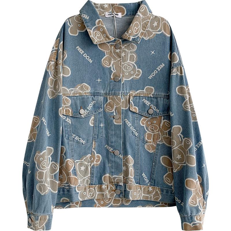 Корейская шикарная уличная одежда, женские куртки с мультяшным рисунком, винтажная куртка в стиле Харадзюку, оверсайз, женские пальто в япо...