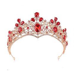 Casamento noiva acessórios de cabelo cristal água broca coroa lágrimas vermelhas coroa tiara beleza concurso