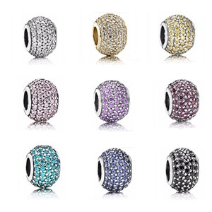 Fit Pandora Bracelets 925 Sterling Silver Open My Heart Cubic Zirconia CZ Clip Charm Fit Bracelet DIY Bracelet Factory Wholesale