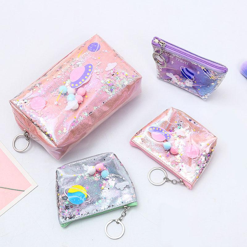 Large Cartoon Cosmetic Bag Laser PVC Pen Box Colorful Makeup Bag Creative Cute Girls Gift Office Tra