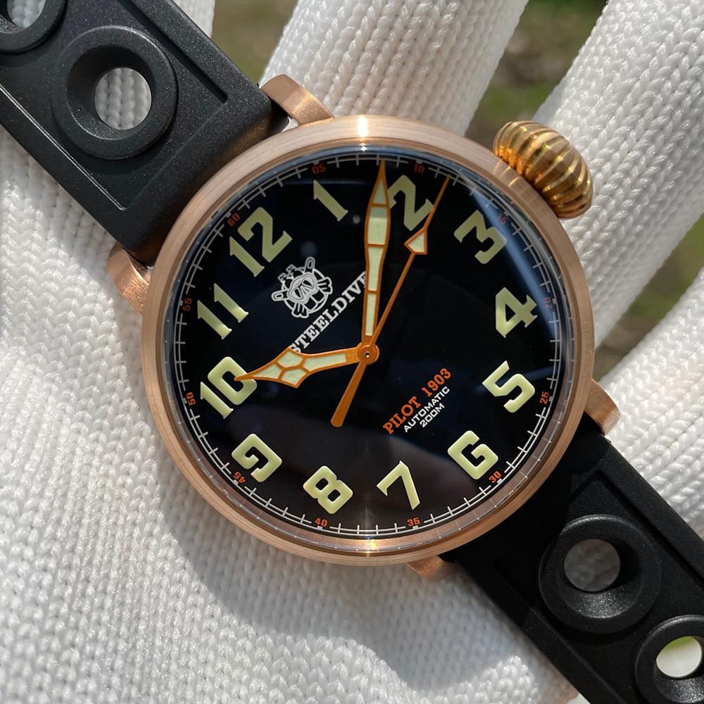 Resistência à Água Steeldive Masculino Escovado Bronze Relógio Piloto Mostrador Preto Safira Cristal 200m Nh35 Movimento Sd1903s Cusn8