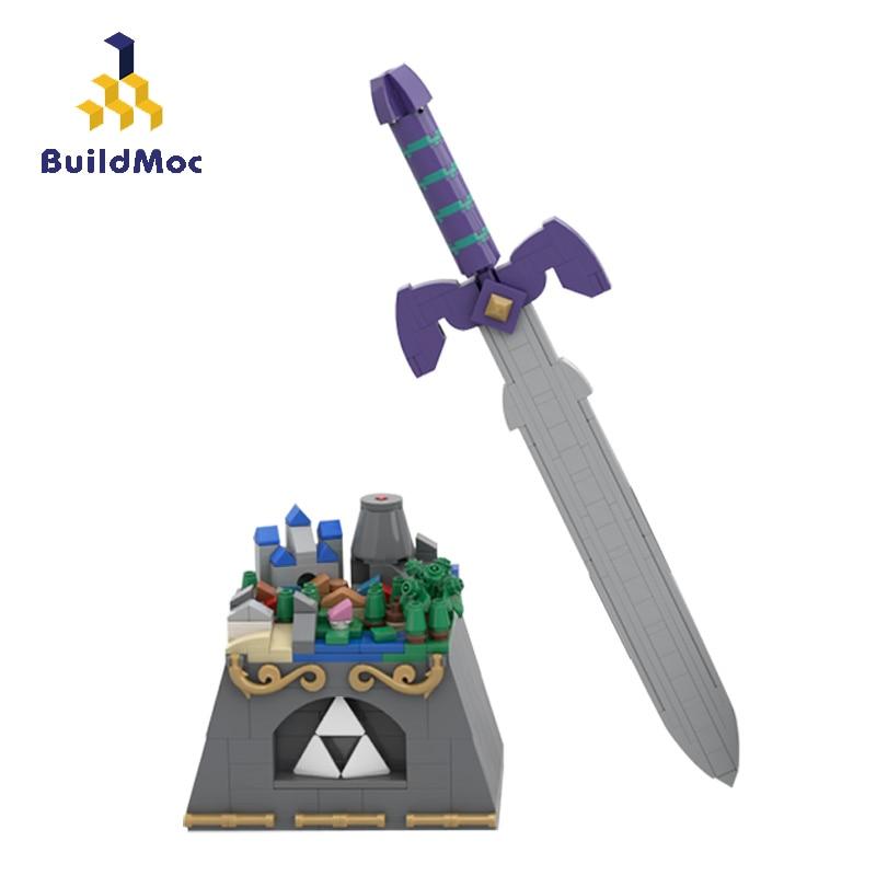 BuildMoc العمارة Hyrule القلعة و ماستر السيف MOC-36344 الفيلم بناء كتل الطوب العمارة لعب للأطفال هدية