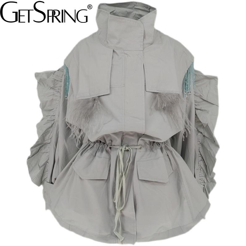 GetSpring النساء خندق معطف شرابة مطرز فانوس كم السيدات سترة واقية الرباط فضفاض عادية رقيقة الخريف القمم 2021 جديد