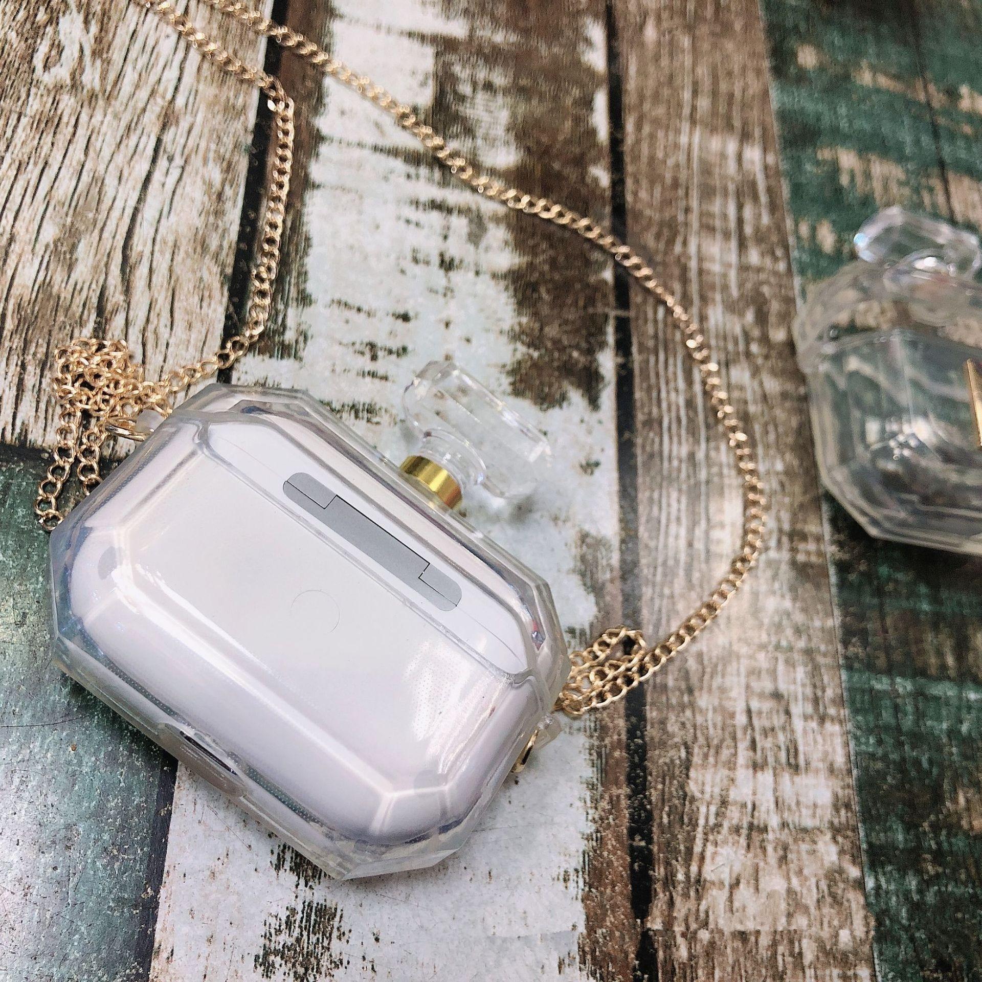 Lujosa botella perfume Mona funda protectora para Apple Airpods Pro ornament accesorios auriculares Bluetooth funda de silicona llavero