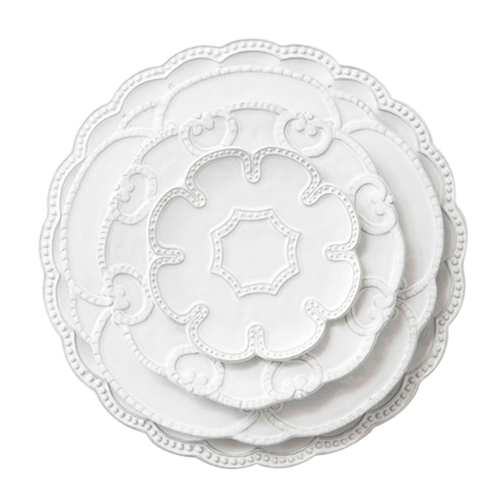 Nuevo producto-plato de cerámica en relieve blanco francés 4 piezas de vajilla platos creativos de postre para restaurantes de gama alta