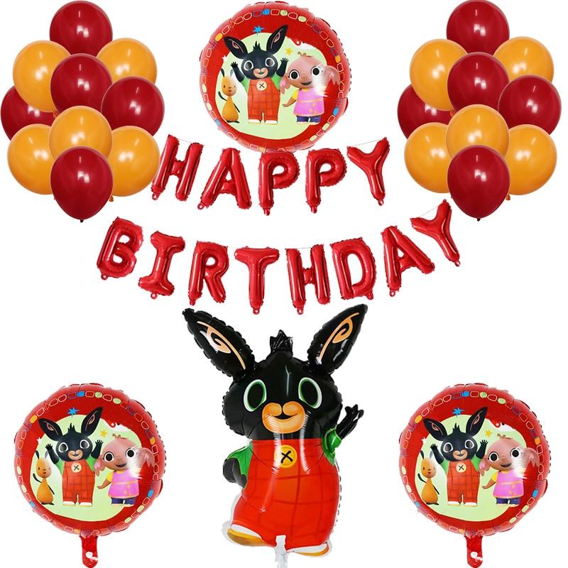 25 uds atracones conejo Globos metalizados de cumpleaños Animal de dibujos animados rojo 30 pulgadas número decoraciones para fiesta de cumpleaños niños Globos