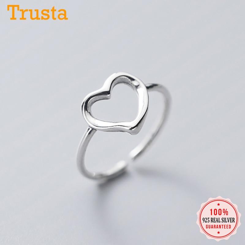Trustdavis, anillo de Plata de Ley 925 auténtica a la moda, romántico, hueco con apertura en forma de corazón para mujer, para fiesta de bodas, joyería S925 DA1155