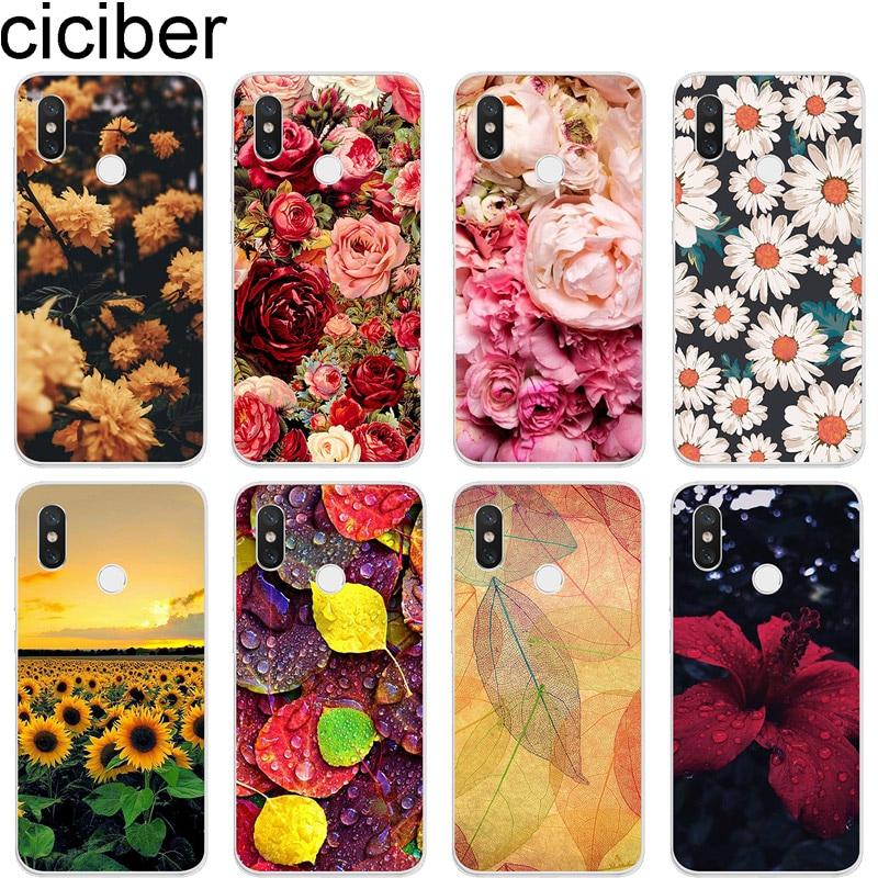 ciciber Phone Case for Xiaomi 9 8 6 5 A2 A1 X C S Plus Lite SE PocoPhone F1 Soft TPU Cover for MIX MAX 3 2 1 S Pro Plant Flower