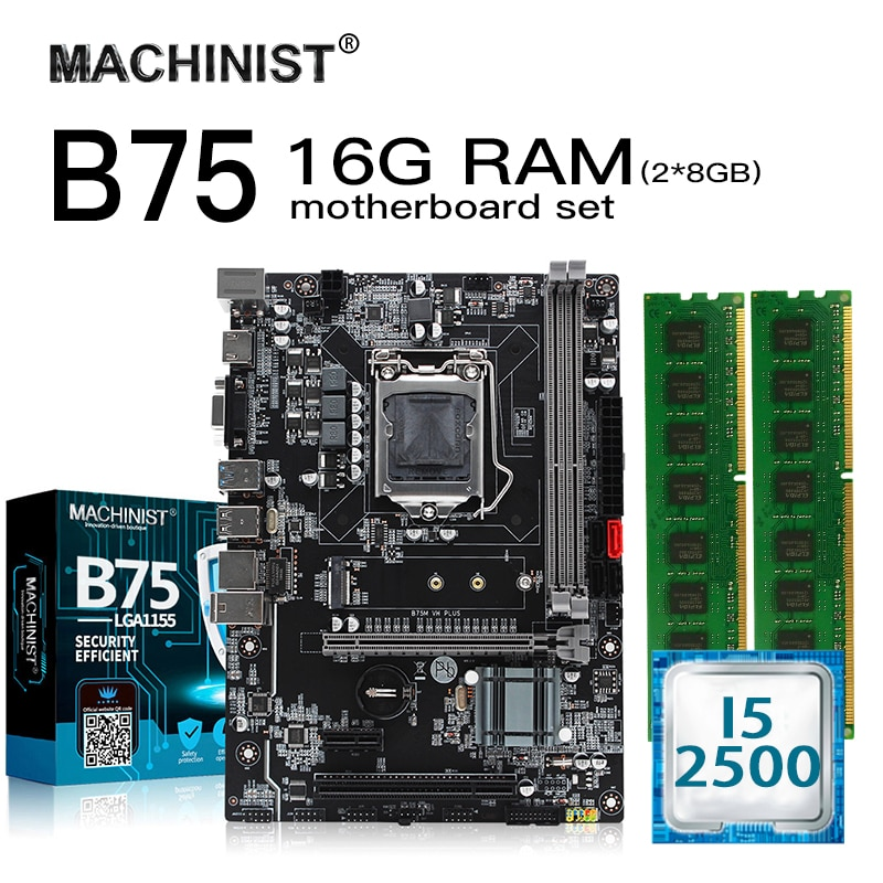 B75 lga 1155 placa-mãe conjunto kit com processador intel i5 2500 16g (2*8g) ram ddr3 micro-atx pci-e 3.0 m. 2 nvme B75M-VH plus