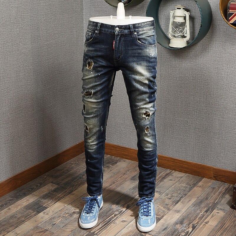 Европейские и американские уличные модные мужские джинсы в стиле ретро, черные и синие зауженные рваные джинсы, мужские дизайнерские Джинс...