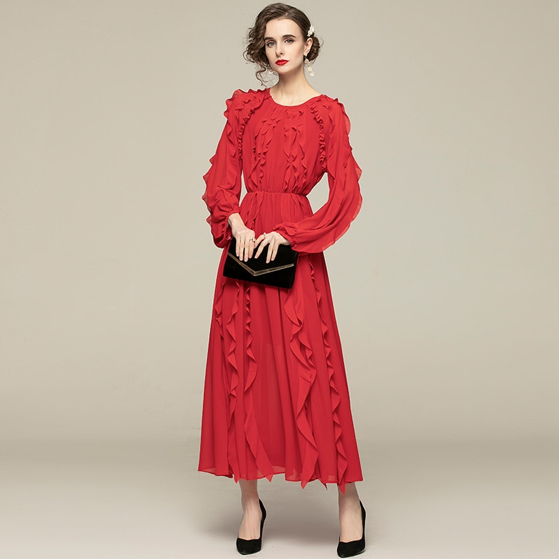ZUOMAN Women Elegant Ruffle Dress Festa High Quality Long Wedding Party Robe Femme Spring Autumn Vintage Designer Red Vestidos