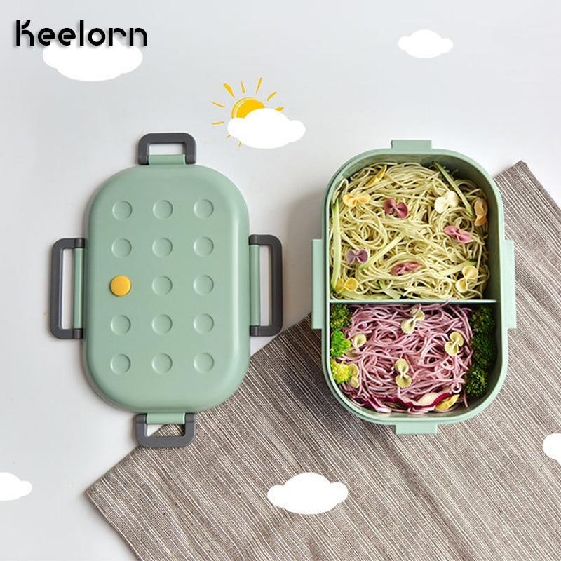 Keelorn 1000 мл герметичный отсек Ланч-бокс контейнер для хранения еды для детей студенческий школьный Портативный Силиконовый ящик