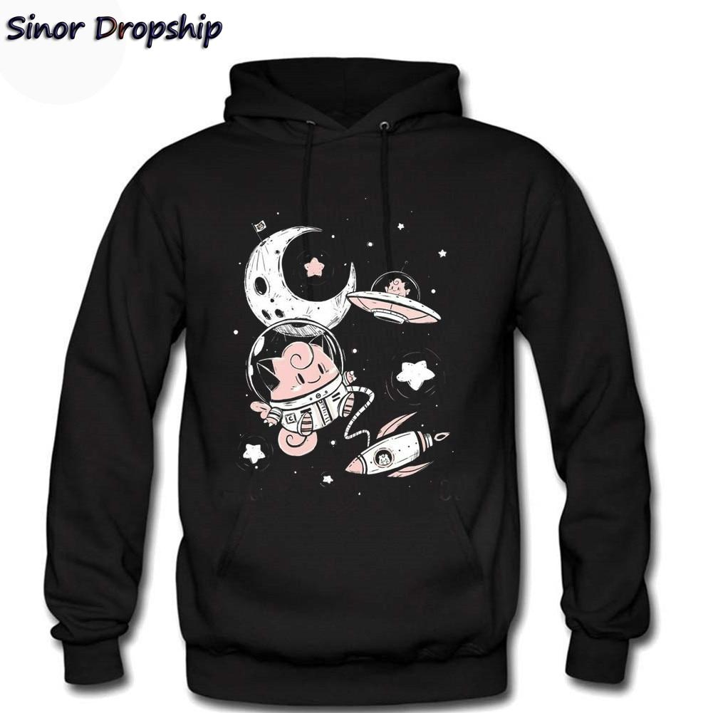Mens Jigglypuff Pokemon UFO Space X Spaceman Pocket Monster Astronaut Clefairy Men Hoodies Sweatshirt Streetwear Moletom Handed