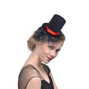 Women Girl Red Sequin Black Mini Top Hat Hair Clip Hat Base DIY Craft Hair Wear Carnival  Wedding Party Christmas Halloween