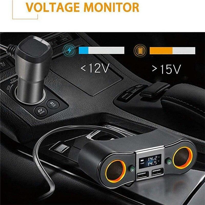 2 en 1 ZNB02 encendedor de cigarrillos USB cargador Adaptador 2 vías doble enchufe cargador divisor 12V automóvil adaptador de cargador de coche