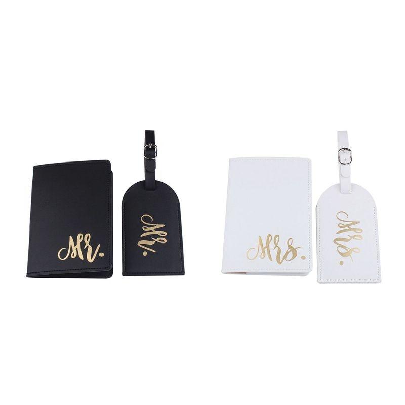 NoEnName_Null portátil el Sr. Y la Sra. Pasaporte cubierta de la tarjeta con Etiquetas de equipaje soporte Protector
