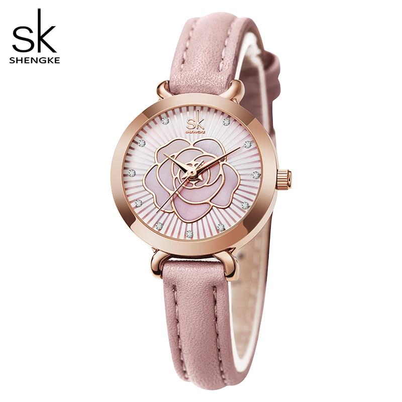 Shengke Fashion Design Women Leather Watches Classical Flower Face Woman Wristwatches Japan Movement Quartz Watch Reloj Mujer enlarge