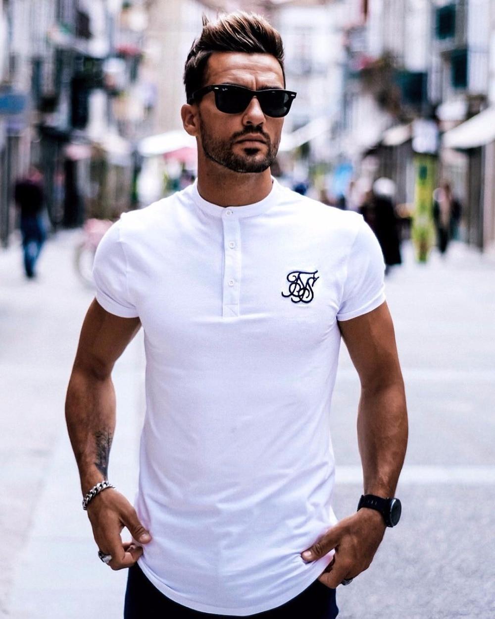 Мужская шелковая футболка Kanye West Sik, черная или белая Повседневная футболка с короткими рукавами и необычной пуговицей в стиле хип-хоп, лето 2019