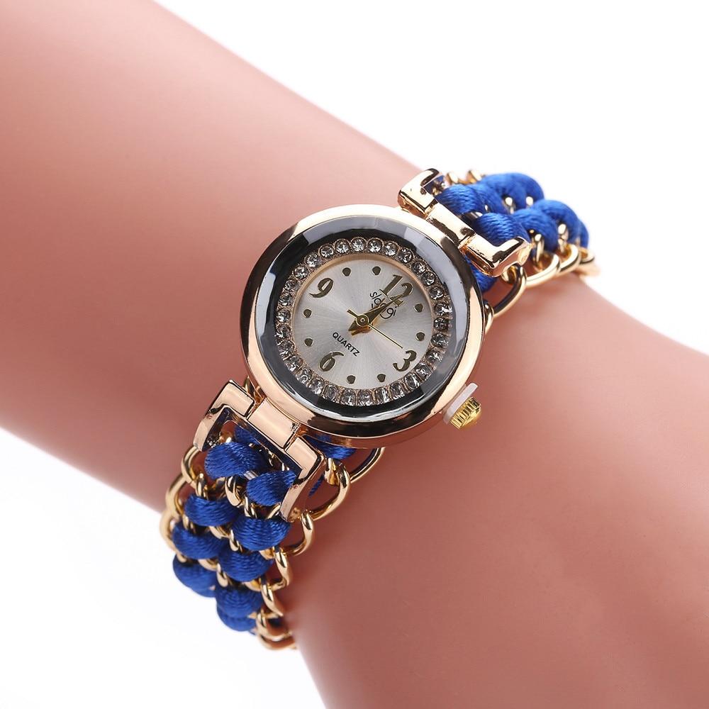 Кварцевые наручные часы, женские наручные часы с плетеным шнурком и цепочкой, Аналоговый кварцевый механизм, наручные часы-браслет, женские...