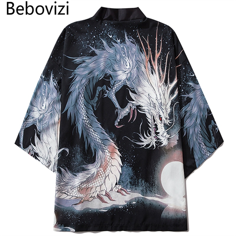 Bebovizi 2020 Style chinois Anime Dragon Kimono Streetwear hommes femmes Cardigan japonais noir Robe femme été Tokyo vêtements