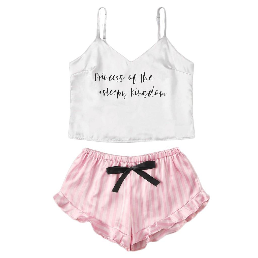 2021 plus size sleepwear women Stain Letter Print O-Neck Camisole Pajamas Sleepwear Shorts Lingerie