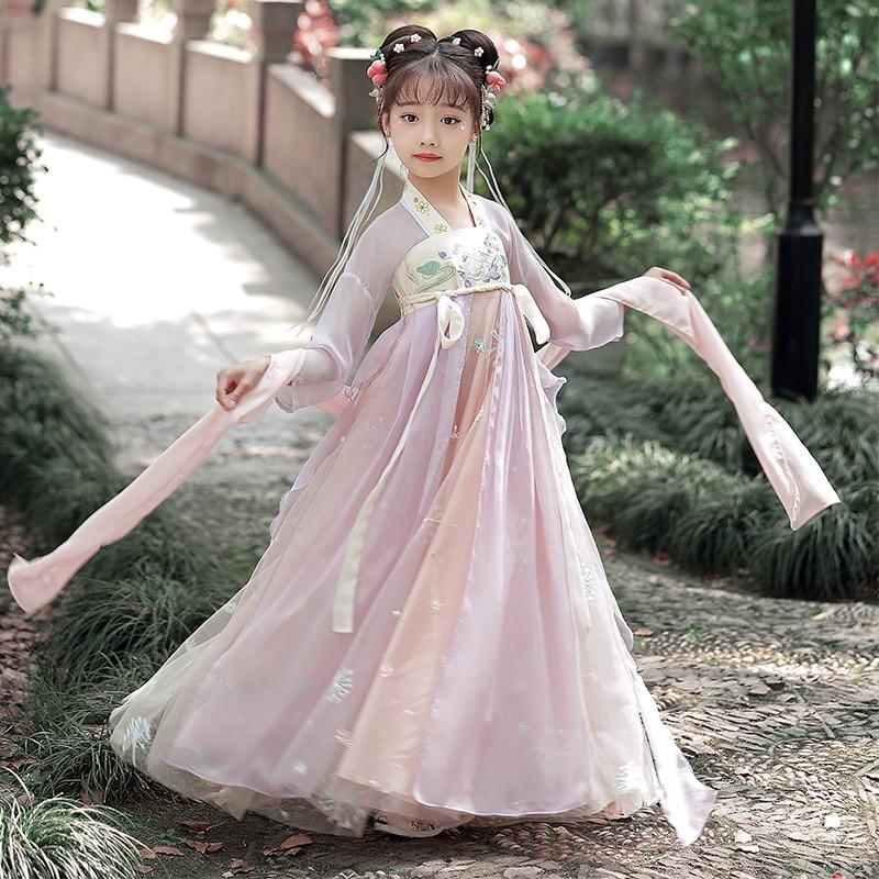 2021 فستان ملابس الطفل الرقص الشعبي الأطفال التقليدية الصينية أزياء رقص للفتيات الأوبرا القديمة تانغ سلالة Hanfu