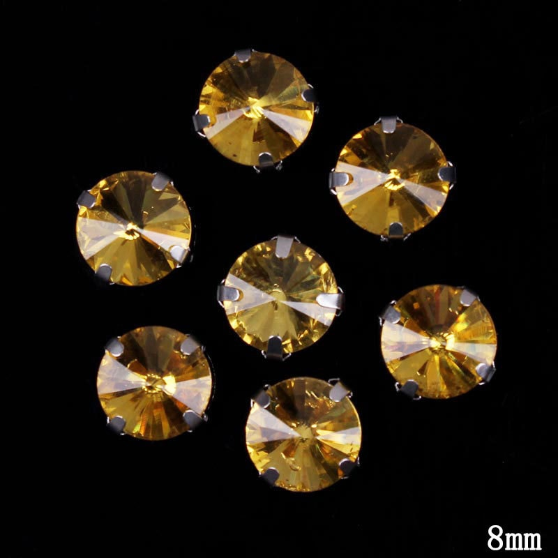 Prajna Diamante para costura hecha a mano pegatinas Strass diamantes de imitación cosido diamantes de imitación redondo garras diamantes de imitación mandíbula taladro apliques DIY