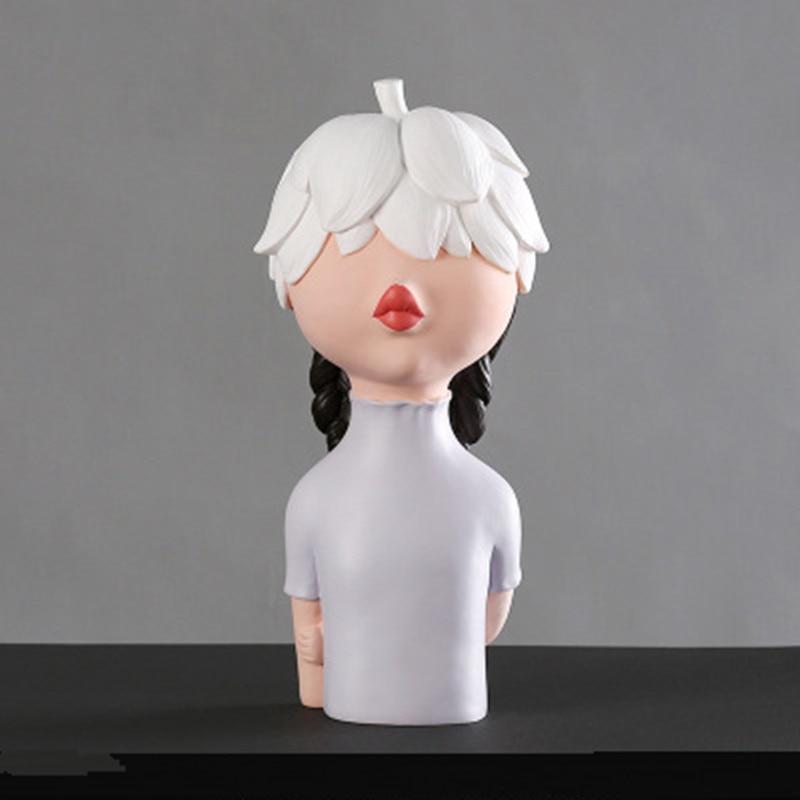 Cabeza creativa hoja pétalo sombrero chica decoración chica corazón carácter resina artesanías hogar sala de estar dormitorio decoración de escritorio M3430