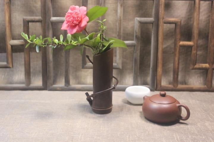 Tubo de bambú alrededor de flores con caracteres japoneses cilindro seco zizhu jarrón zen muebles artículos