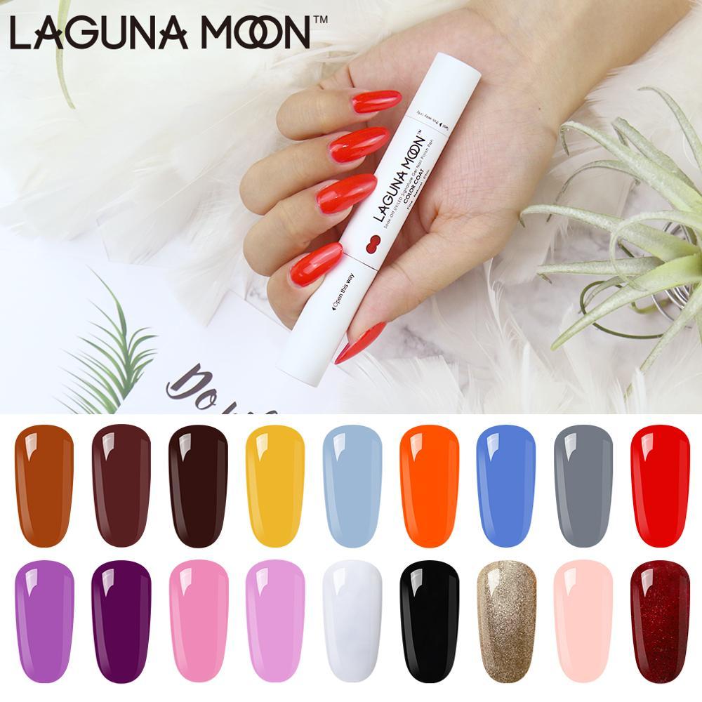 Launamoon 3 en 1 un paso Gel esmalte de uñas lápiz pintura Color DIY NO necesita Base capa superior UV lámpara LED remojo de UV esmalte en Gel laca