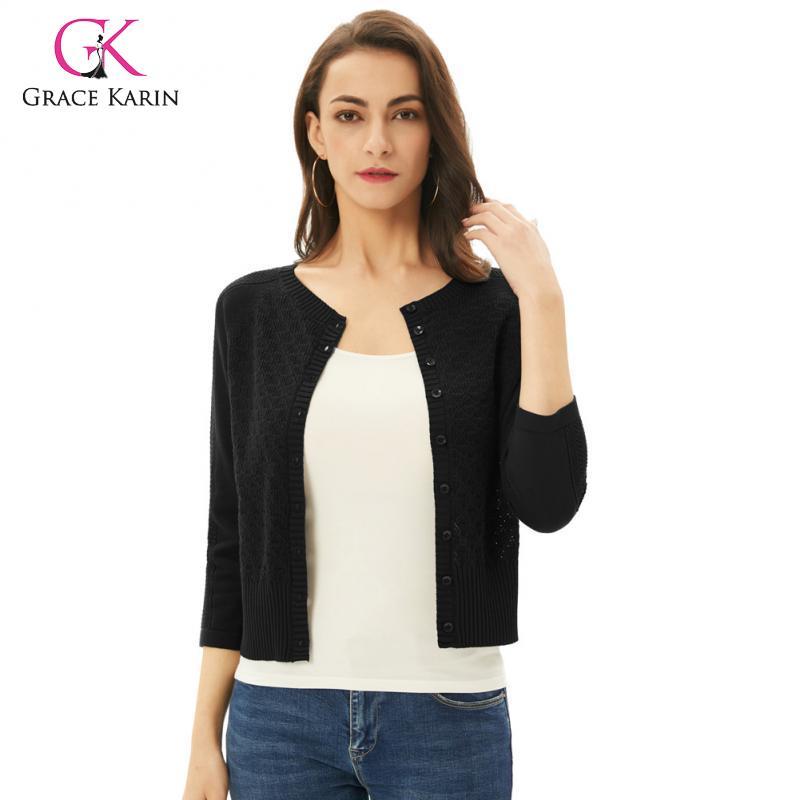 Grace Karin nueva primavera Summe 2020 botón mujeres Knited Cardigan Casual sólido suéter O cuello abrigo corto femenino de talla grande 2XL