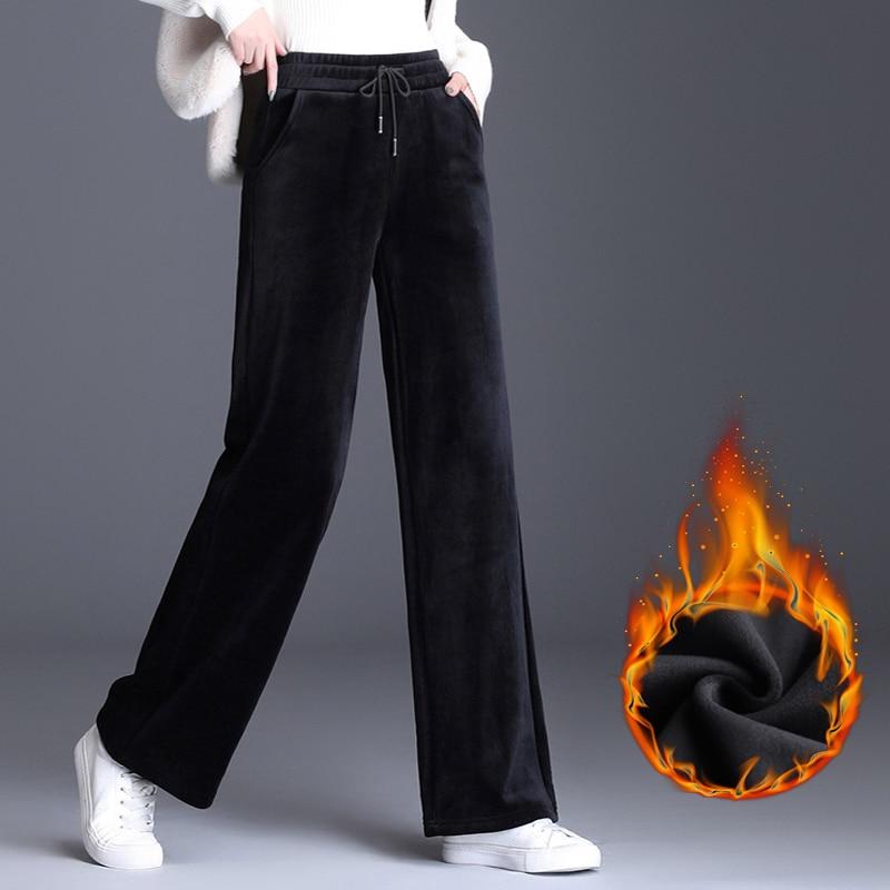 Pantalón para mujer de cintura alta casual pantalones de pierna ancha suelta femenina 2019 invierno cálido grueso doble terciopelo moda coreana elegante marea