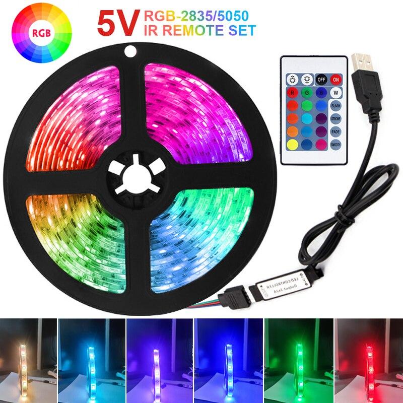 Tira de Luces LED RGB de 5V, cinta Flexible de diodos, decoración...