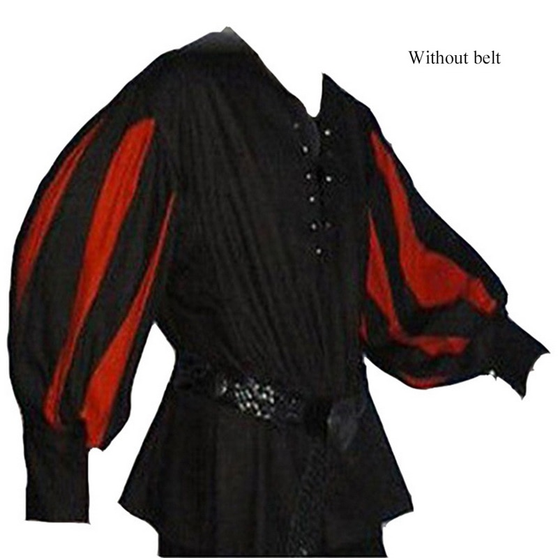 Camisas de disfraces de Cosplay medievales para hombres Vintage atado vendaje suelta costura superior camisa para hombre Retro manga larga etapa fiesta camisa