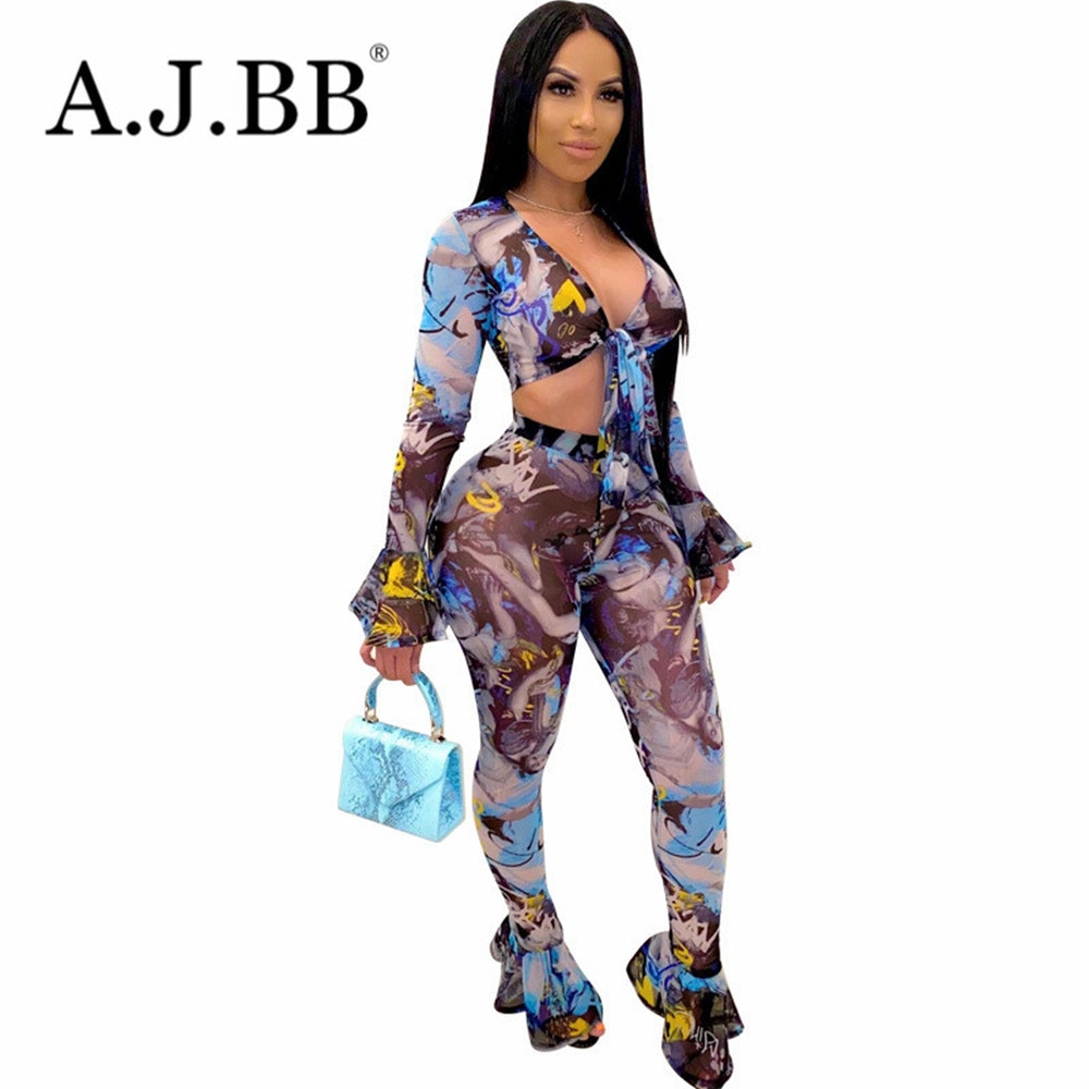 New sexy multi-color printing night club two piece summer fashion slim fit deep V-Neck long sleeve bra and pants women's suit